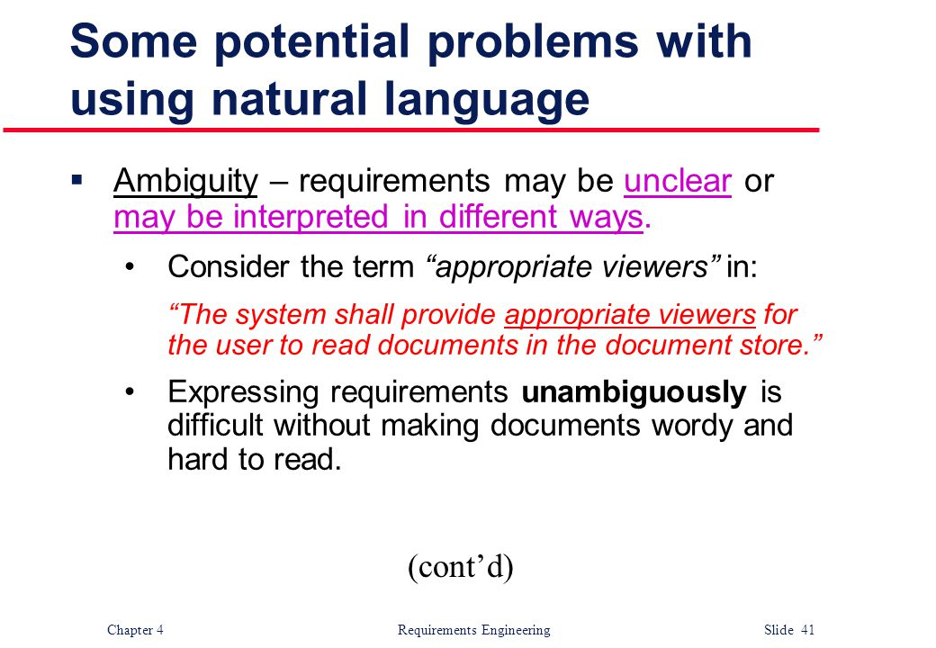 Some potential problems with using natural language
