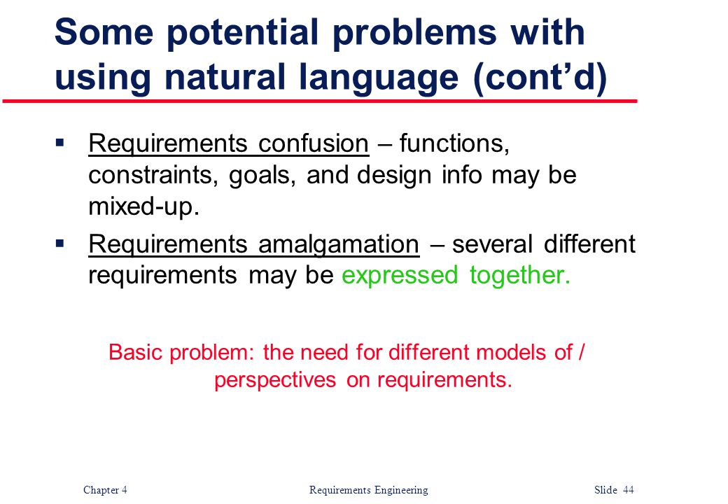 Some potential problems with using natural language (cont'd)