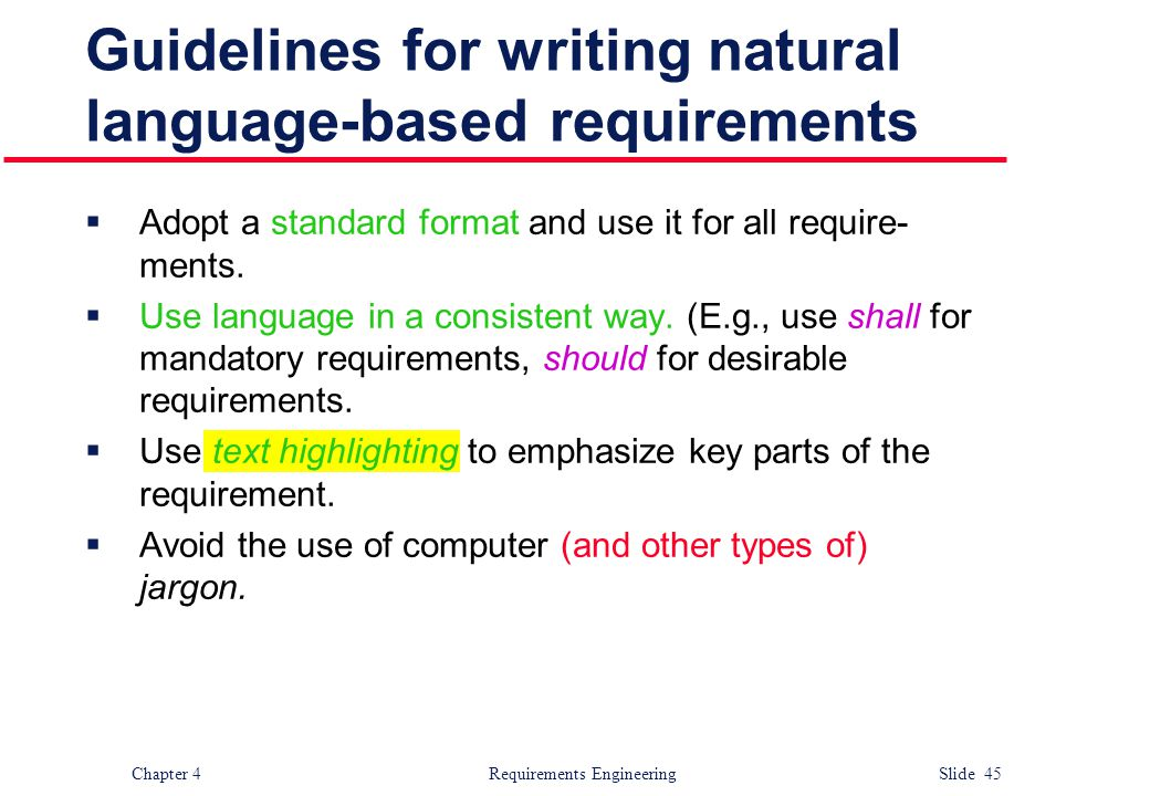 Guidelines for writing natural language-based requirements
