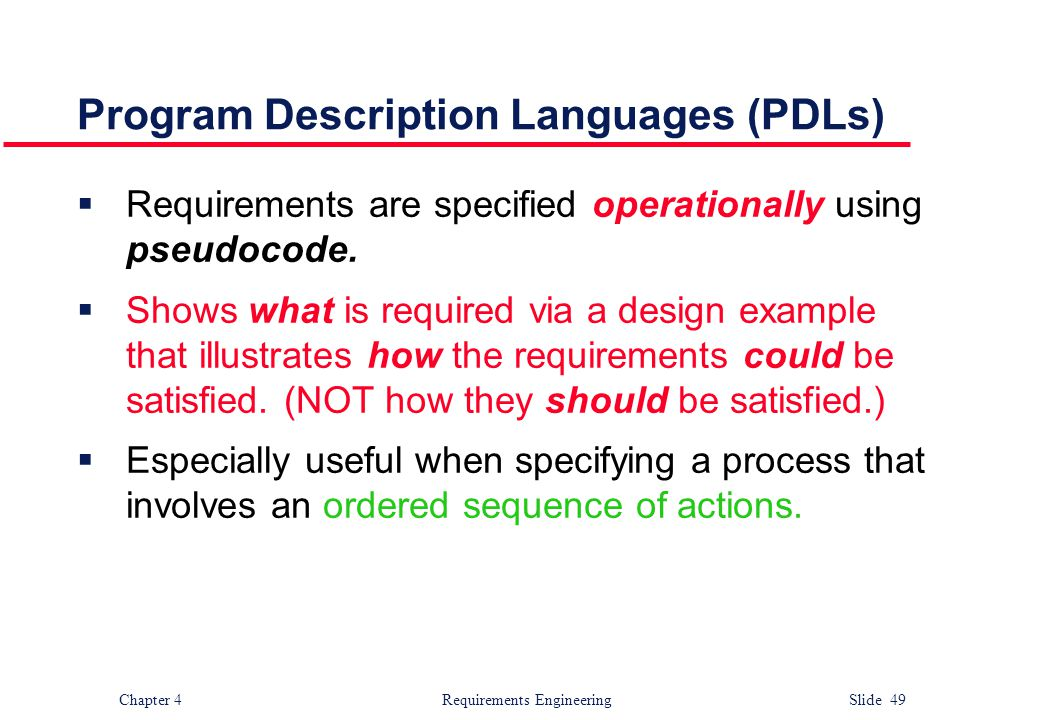 Program Description Languages (PDLs)