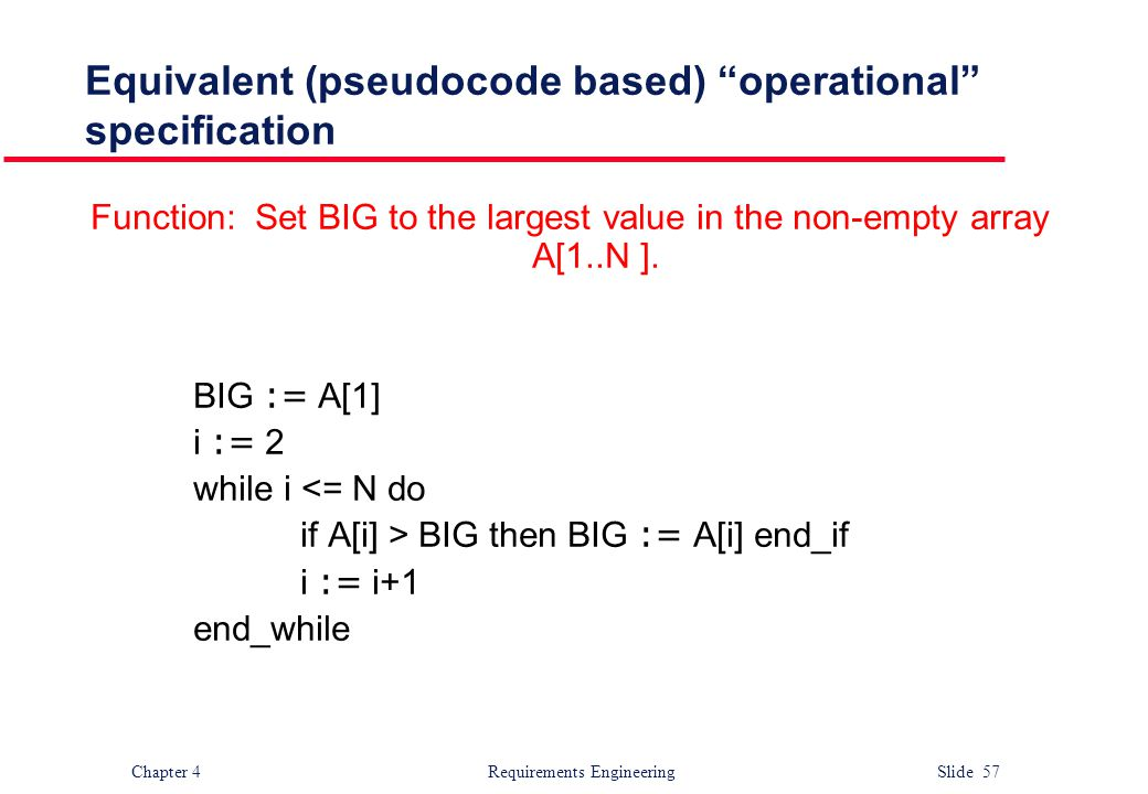 Equivalent (pseudocode based) operational specification