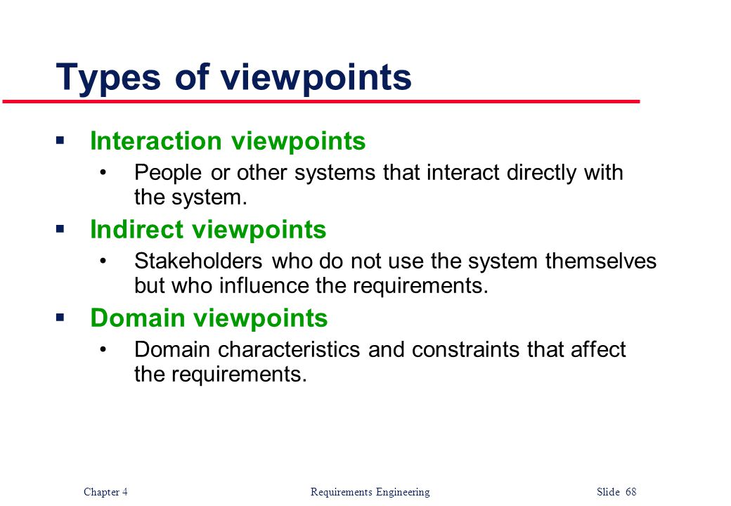 Types of viewpoints Interaction viewpoints Indirect viewpoints