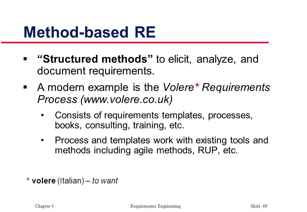 Method-based RE Structured methods to elicit, analyze, and document requirements.