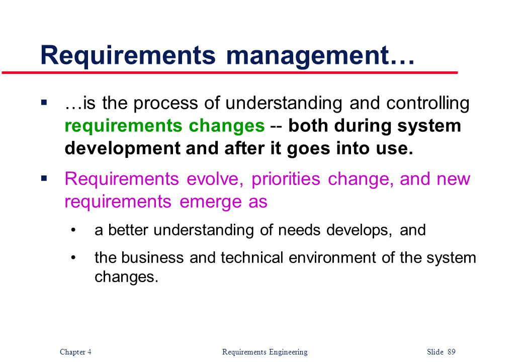 Requirements management…