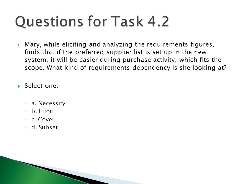 Questions for Task 4.2