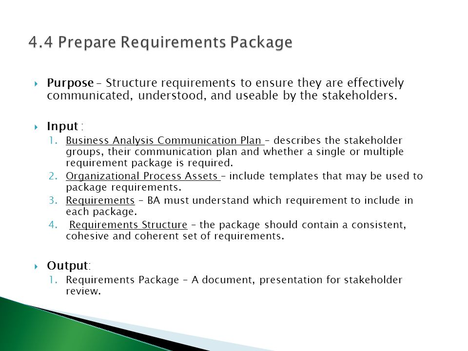 4.4 Prepare Requirements Package