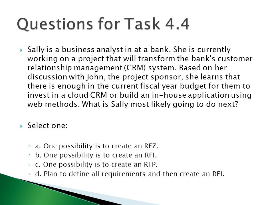 Questions for Task 4.4