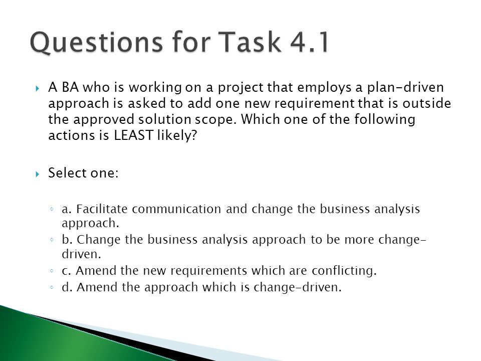 Questions for Task 4.1