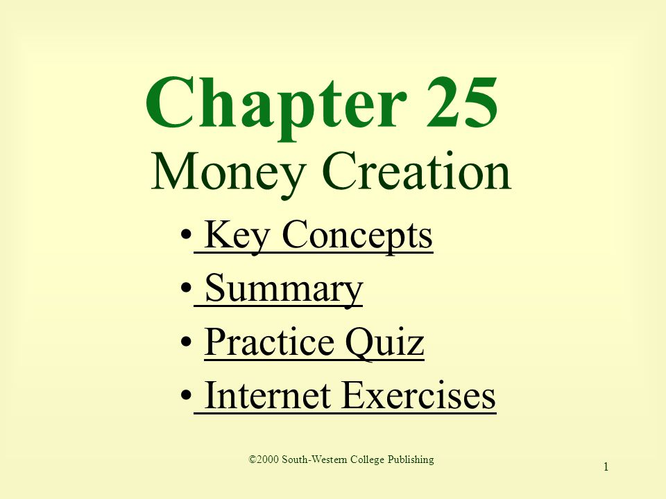 Chapter 25 Money Creation