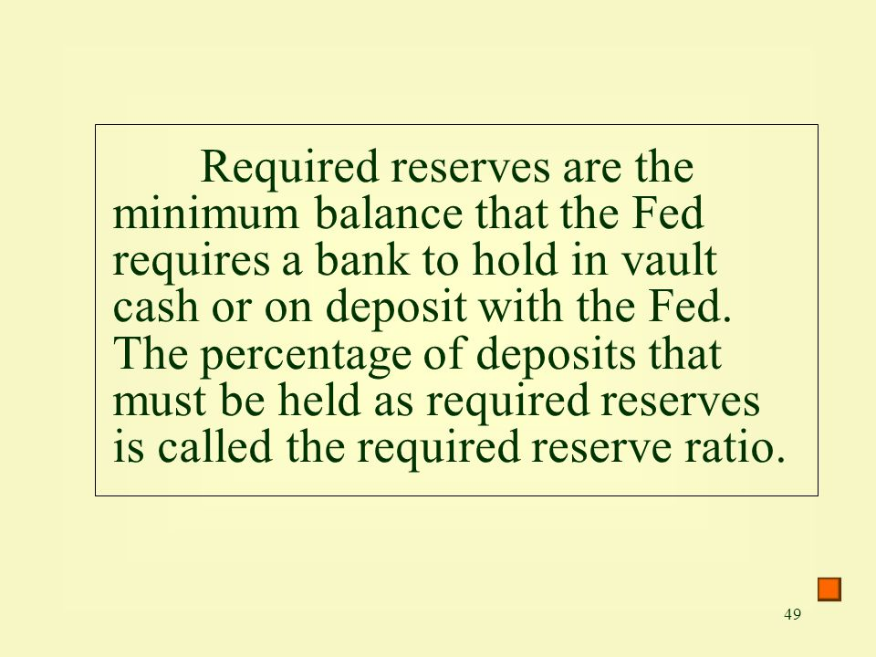 Required reserves are the minimum balance that the Fed requires a bank to hold in vault cash or on deposit with the Fed.