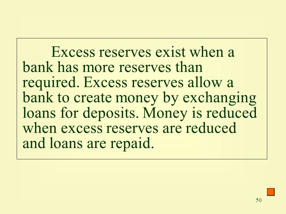 Excess reserves exist when a bank has more reserves than required