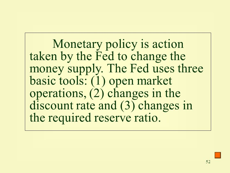 Monetary policy is action taken by the Fed to change the money supply