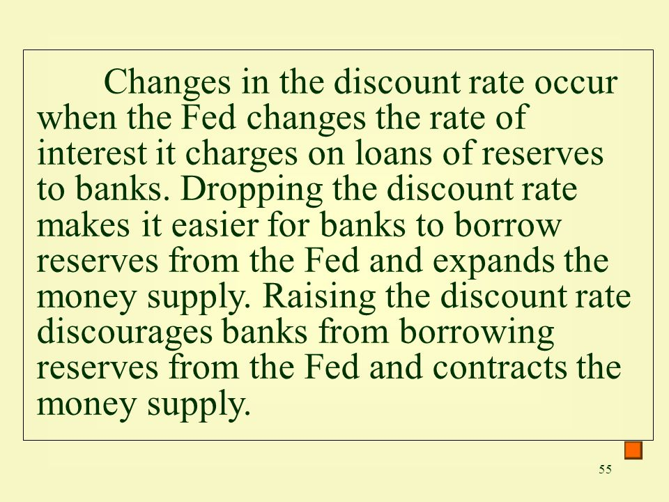 Changes in the discount rate occur when the Fed changes the rate of interest it charges on loans of reserves to banks.