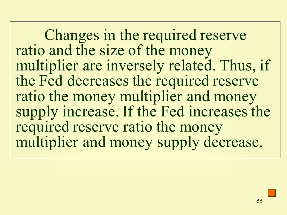 Changes in the required reserve ratio and the size of the money multiplier are inversely related.