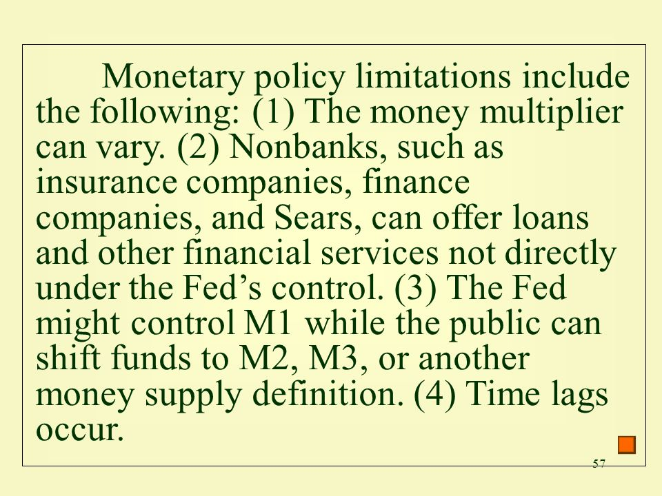 Monetary policy limitations include the following: (1) The money multiplier can vary.
