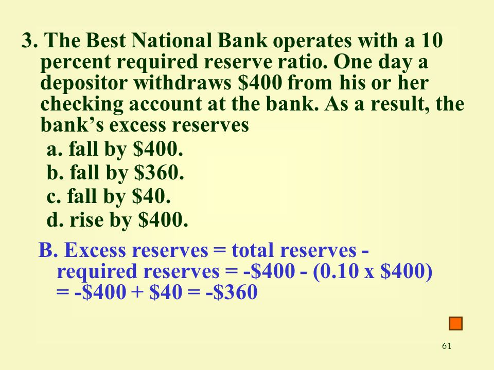 3. The Best National Bank operates with a 10 percent required reserve ratio. One day a depositor withdraws $400 from his or her checking account at the bank. As a result, the bank's excess reserves