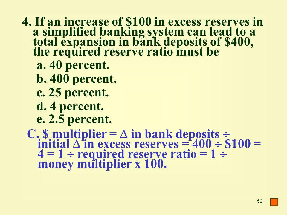 4. If an increase of $100 in excess reserves in a simplified banking system can lead to a total expansion in bank deposits of $400, the required reserve ratio must be