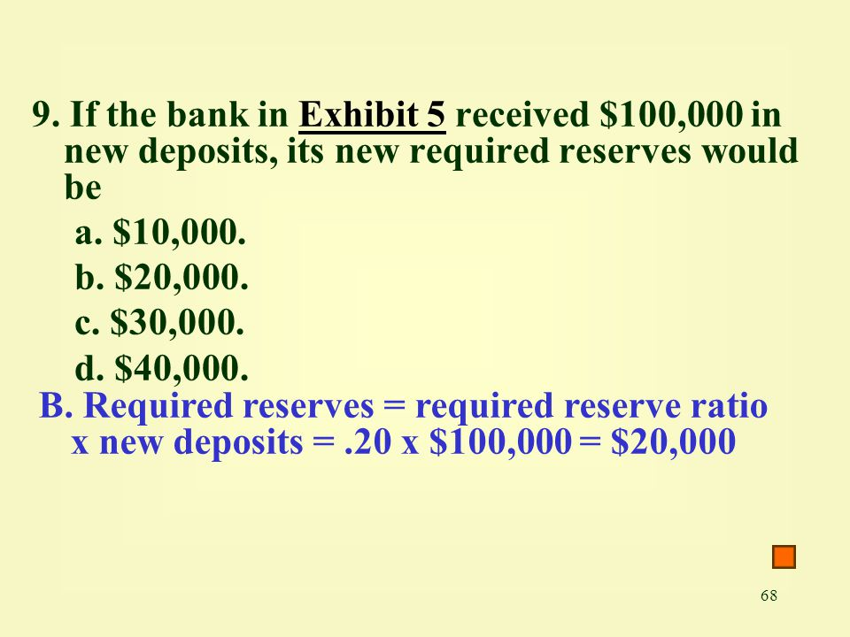 9. If the bank in Exhibit 5 received $100,000 in new deposits, its new required reserves would be