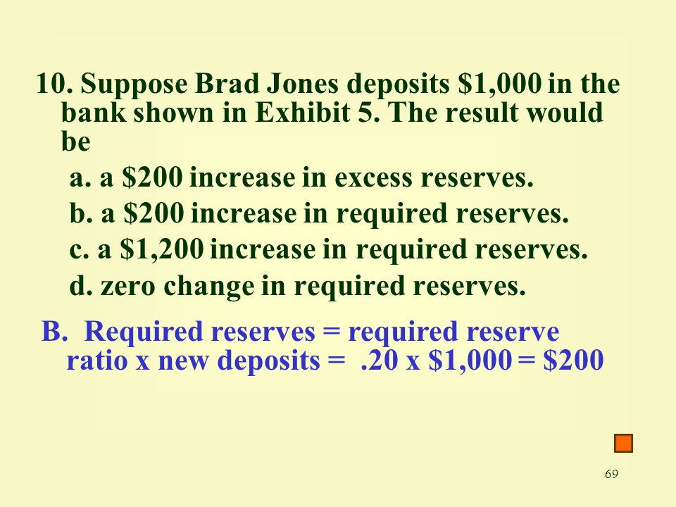 10. Suppose Brad Jones deposits $1,000 in the bank shown in Exhibit 5