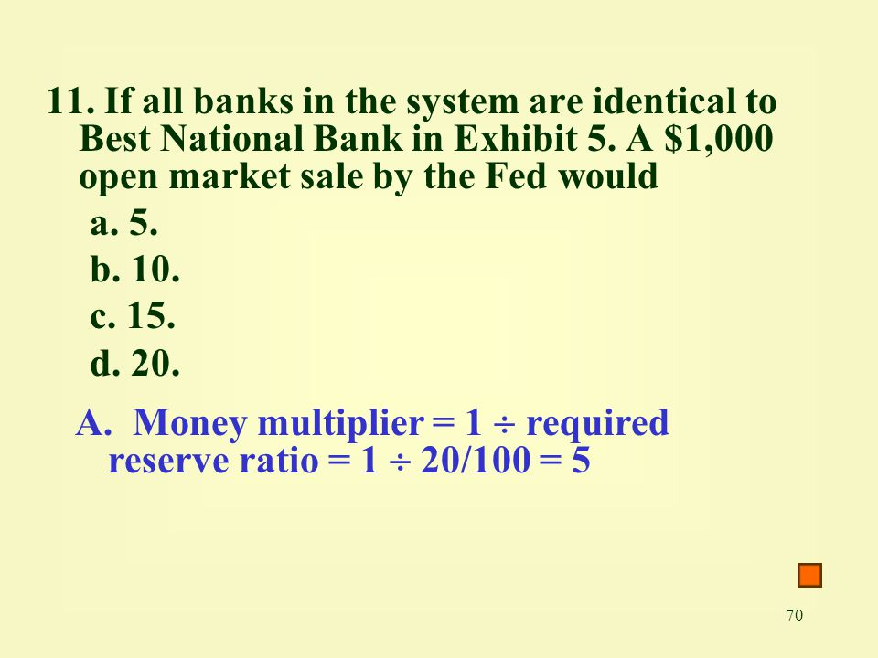 11. If all banks in the system are identical to Best National Bank in Exhibit 5. A $1,000 open market sale by the Fed would