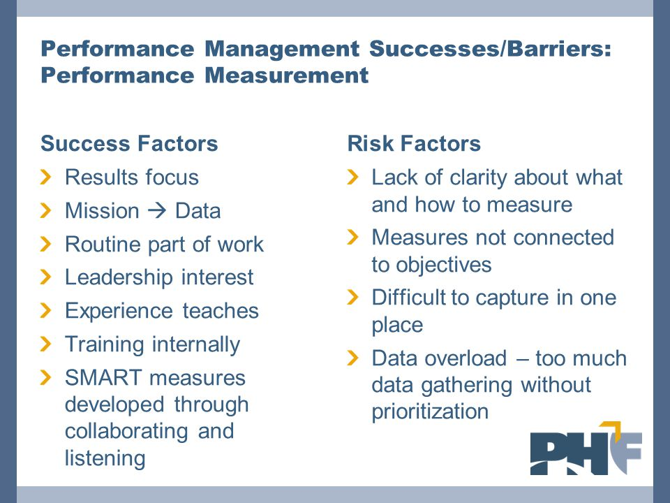 Performance Management Successes/Barriers: Performance Measurement