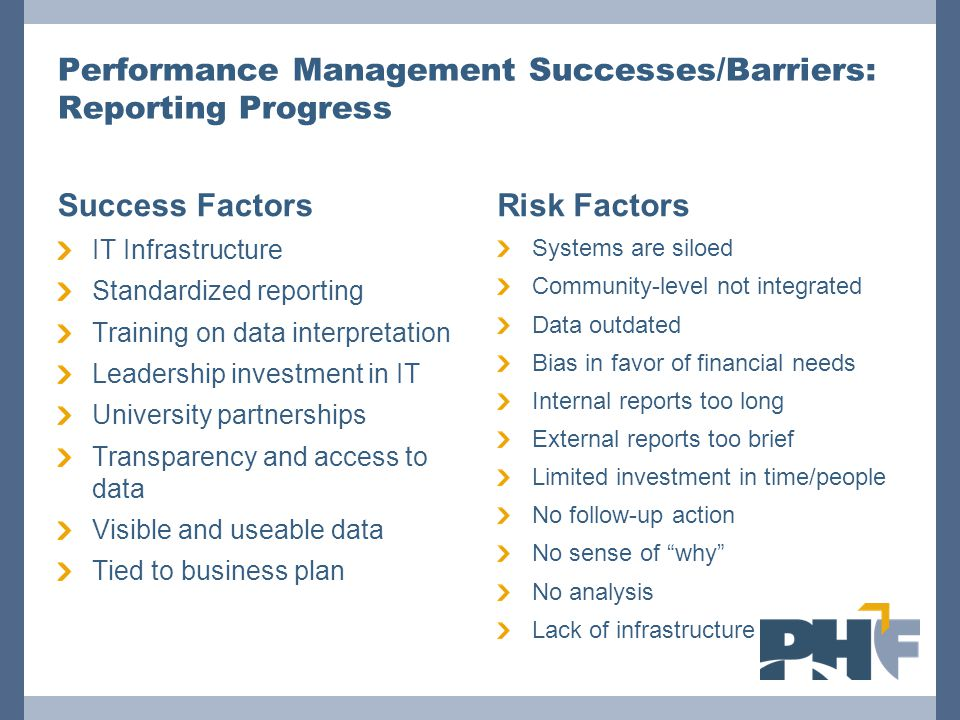Performance Management Successes/Barriers: Reporting Progress