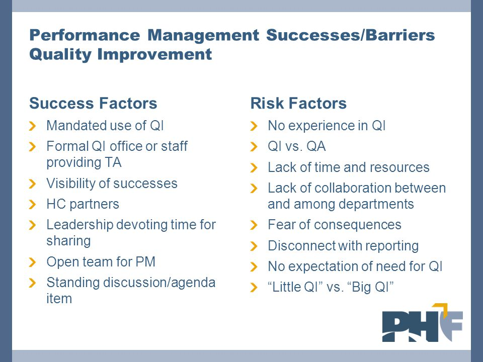 Performance Management Successes/Barriers Quality Improvement