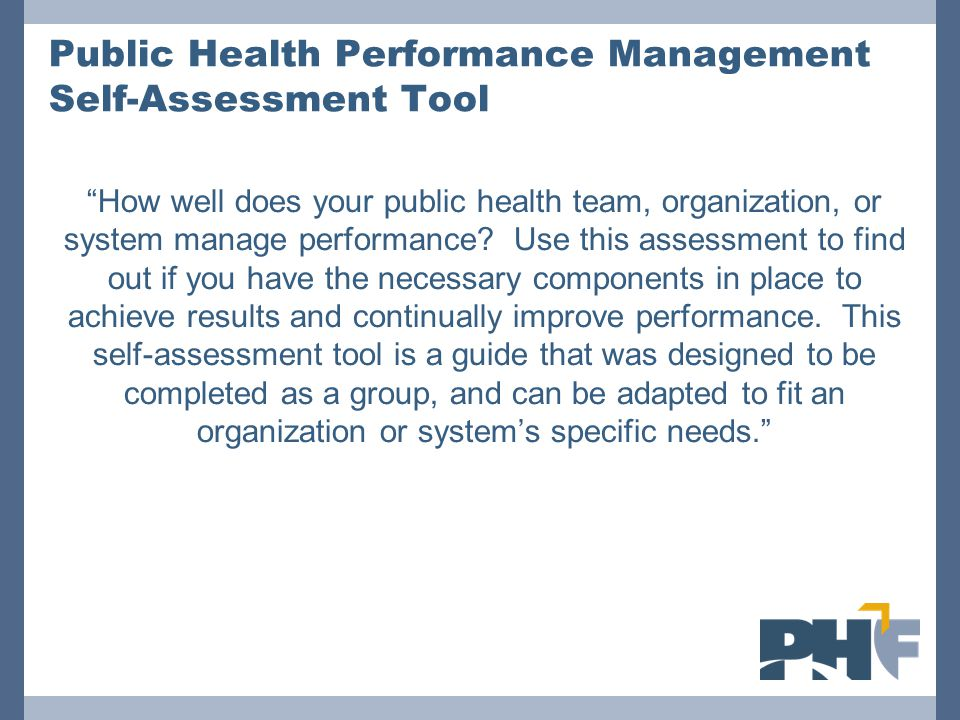Public Health Performance Management Self-Assessment Tool