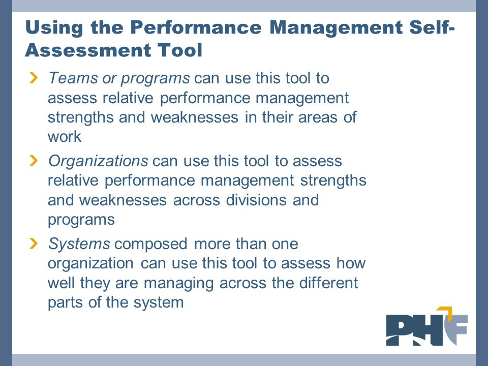 Using the Performance Management Self-Assessment Tool