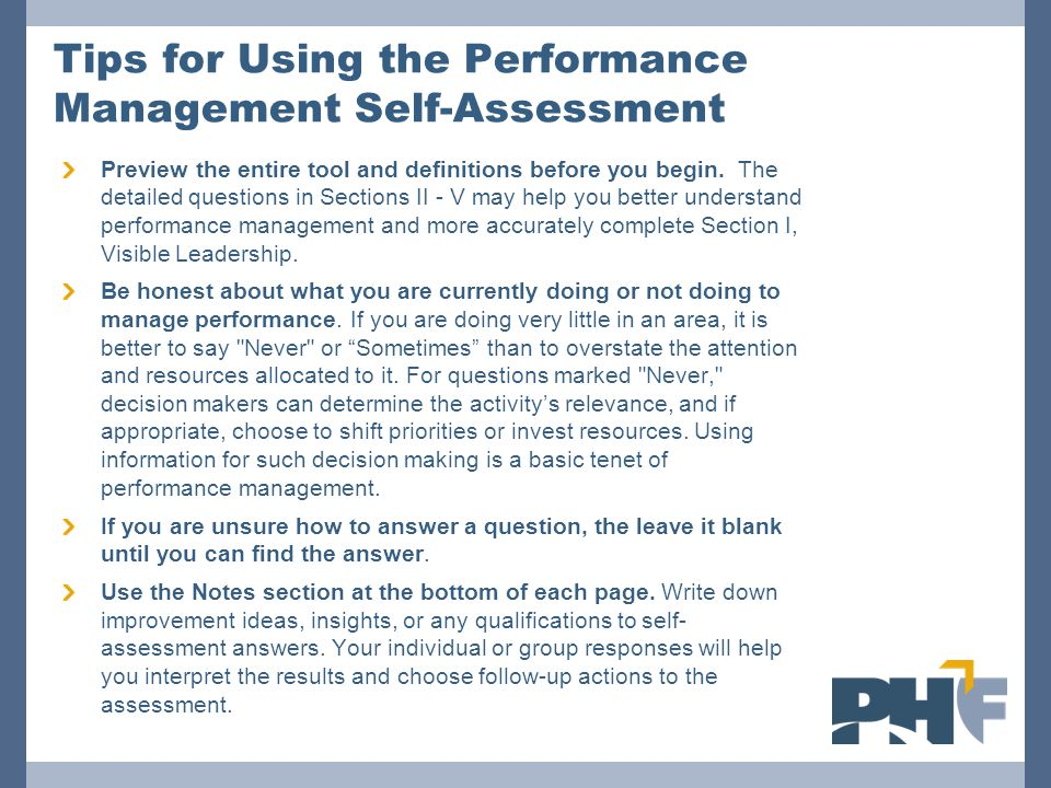 Tips for Using the Performance Management Self-Assessment