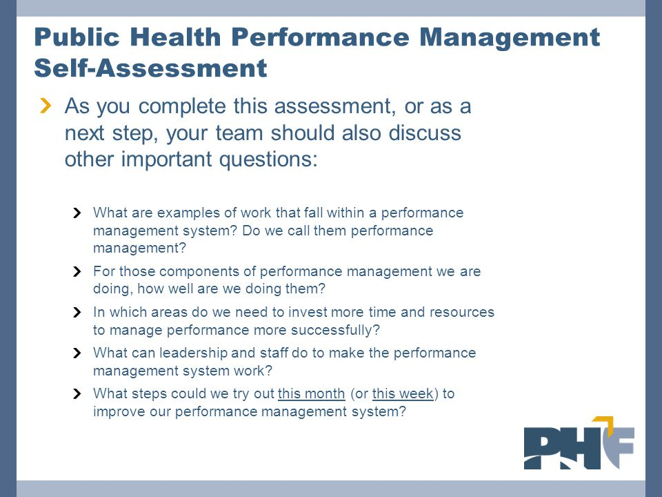 Public Health Performance Management Self-Assessment