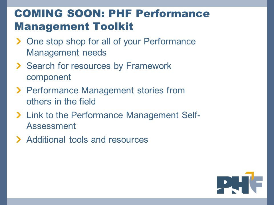 COMING SOON: PHF Performance Management Toolkit