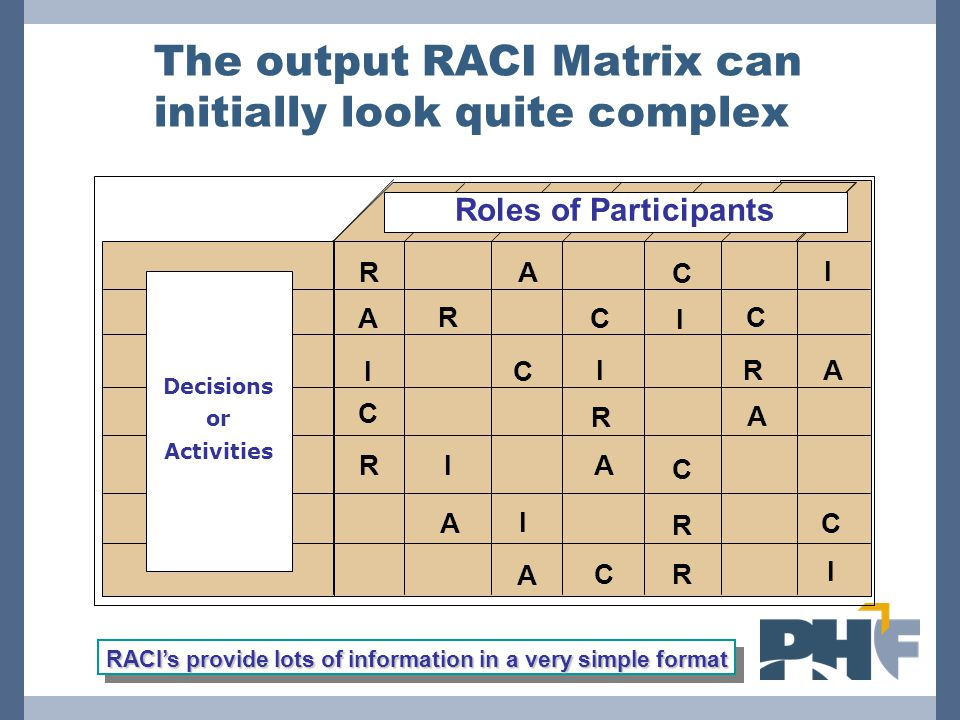 The output RACI Matrix can initially look quite complex