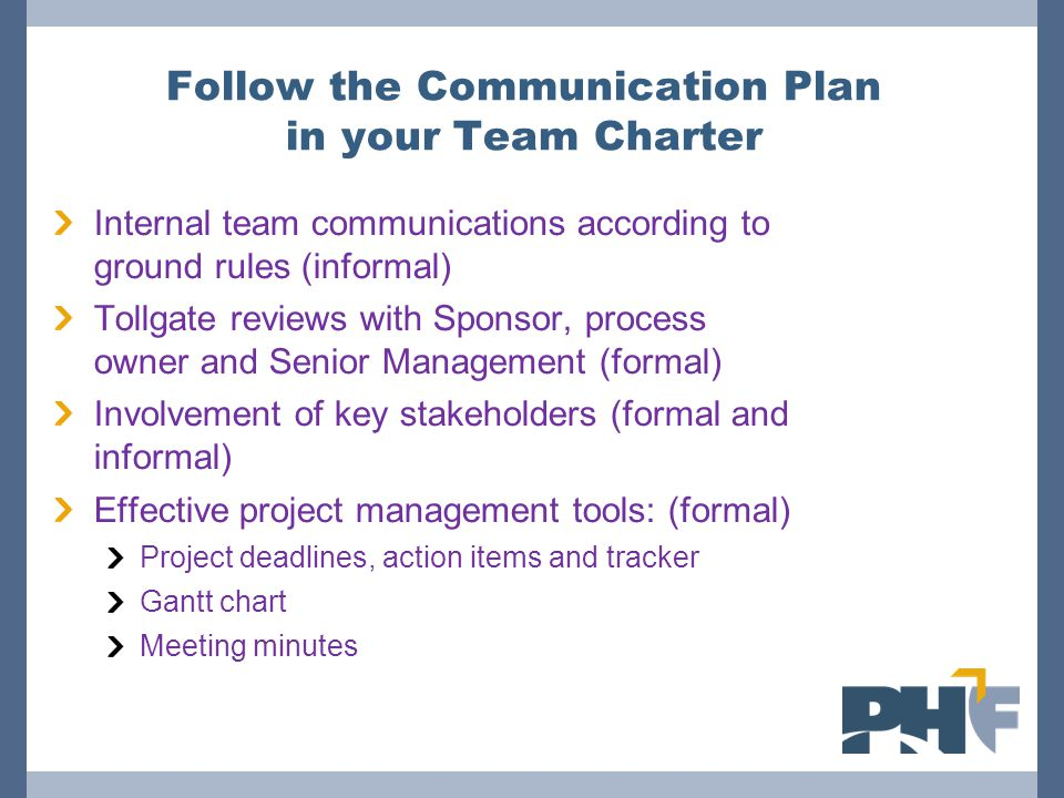 Follow the Communication Plan in your Team Charter