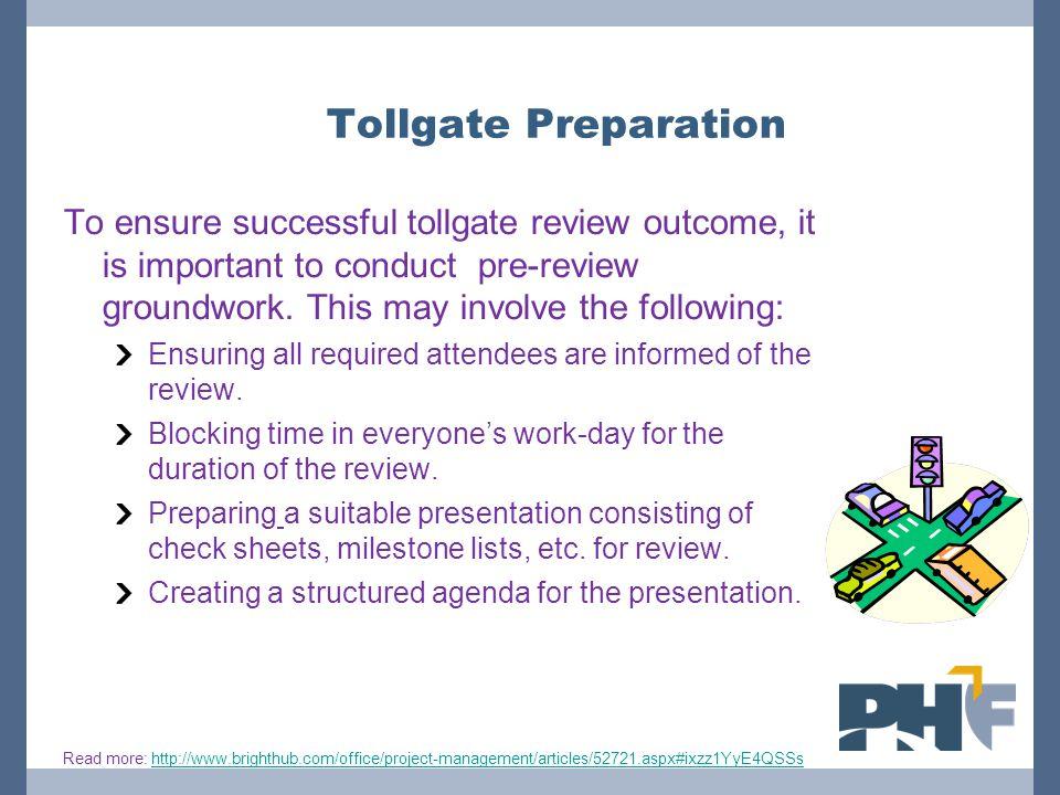Tollgate Preparation