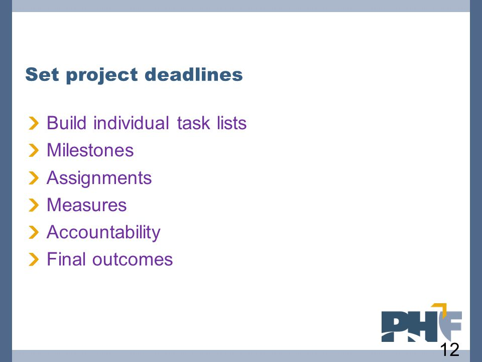 Set project deadlines Build individual task lists. Milestones. Assignments. Measures. Accountability.