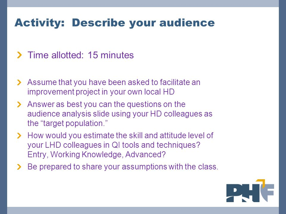 Activity: Describe your audience