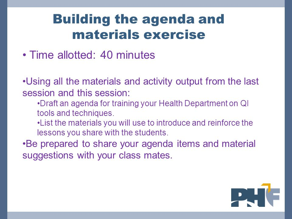 Building the agenda and materials exercise