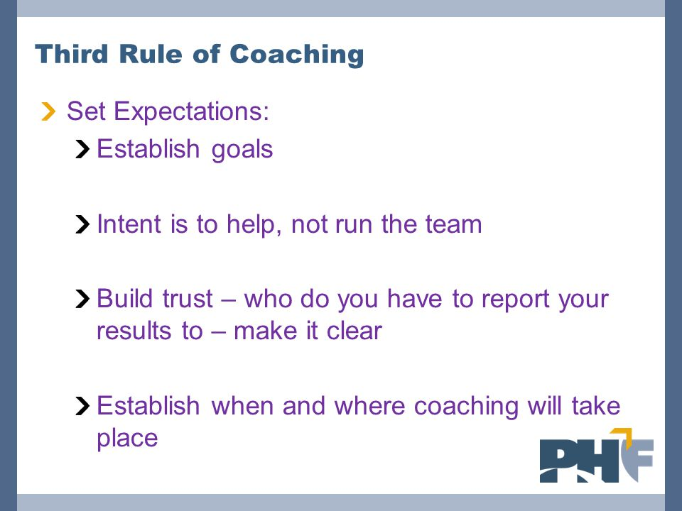 Third Rule of Coaching Set Expectations: Establish goals. Intent is to help, not run the team.