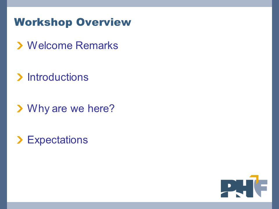 Workshop Overview Welcome Remarks Introductions Why are we here Expectations