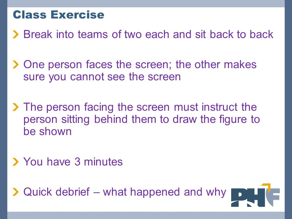 Class Exercise Break into teams of two each and sit back to back. One person faces the screen; the other makes sure you cannot see the screen.
