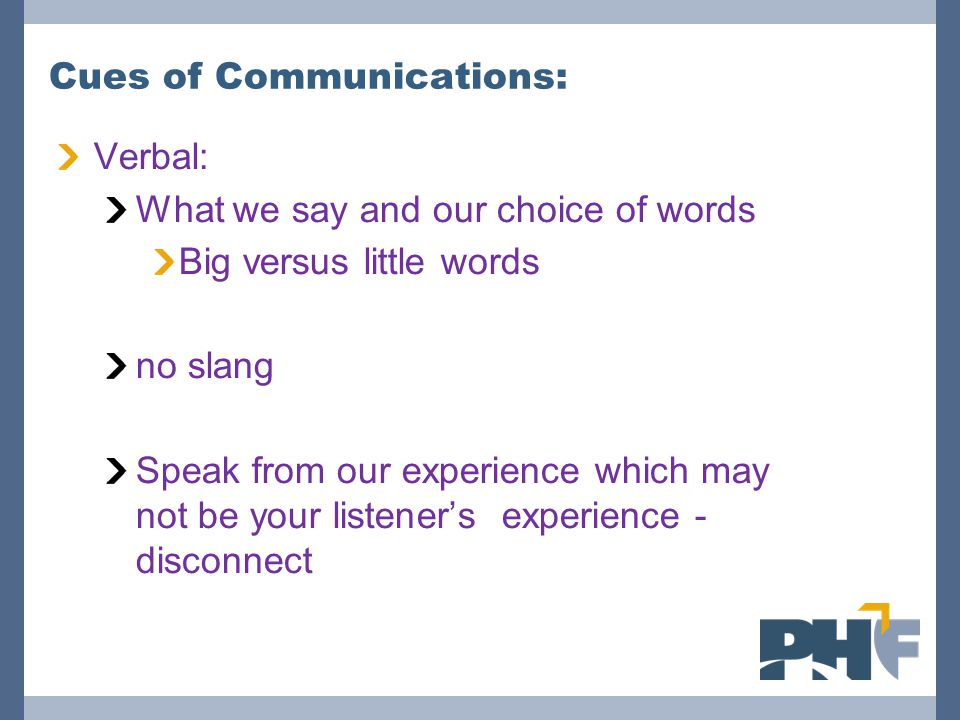 Cues of Communications: