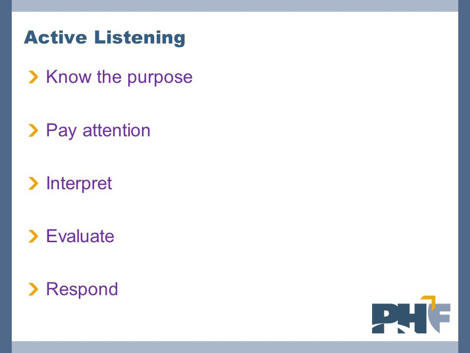 Active Listening Know the purpose Pay attention Interpret Evaluate Respond