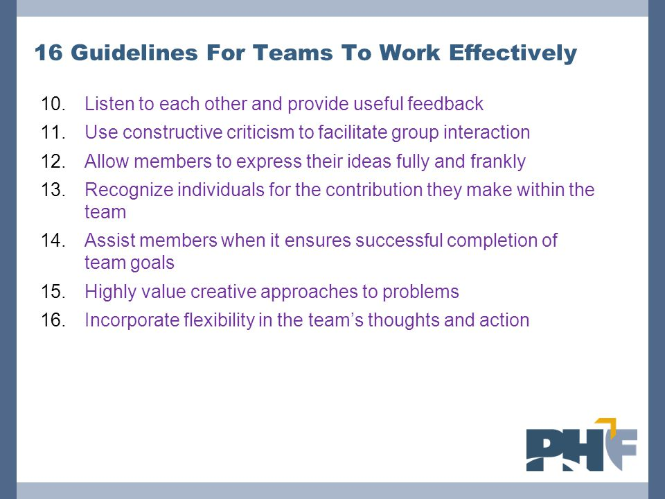 16 Guidelines For Teams To Work Effectively