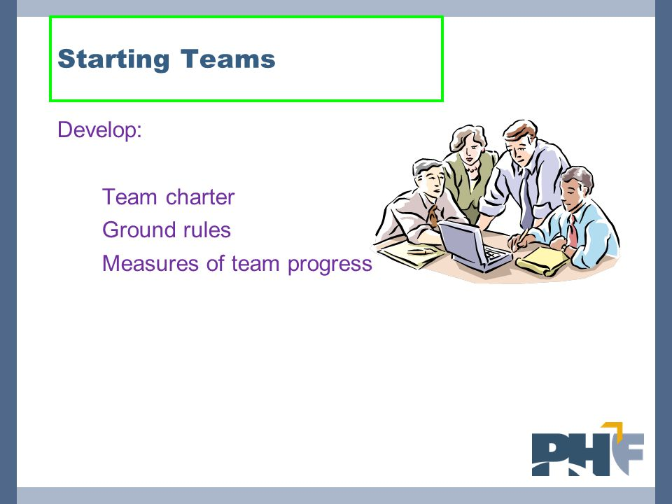 Starting Teams Develop: Team charter Ground rules
