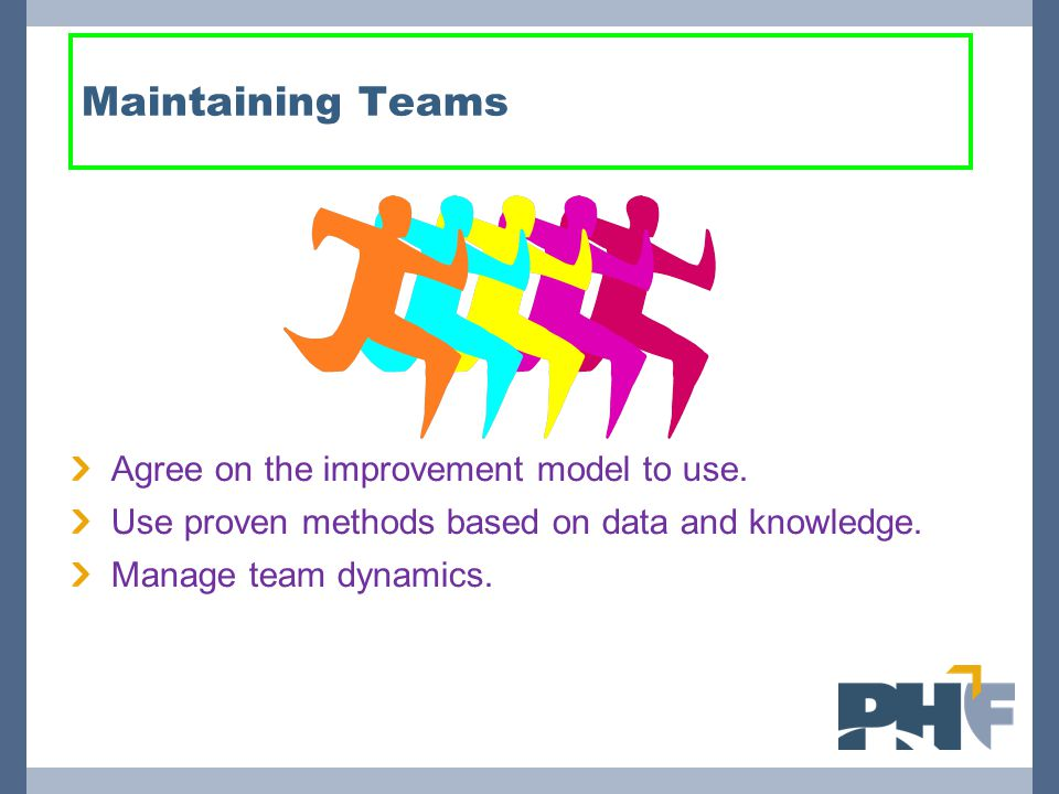 Maintaining Teams Agree on the improvement model to use.