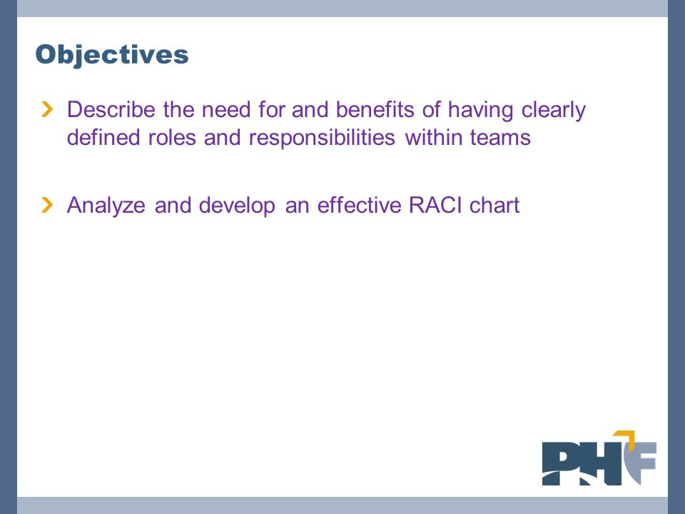 Objectives Describe the need for and benefits of having clearly defined roles and responsibilities within teams.