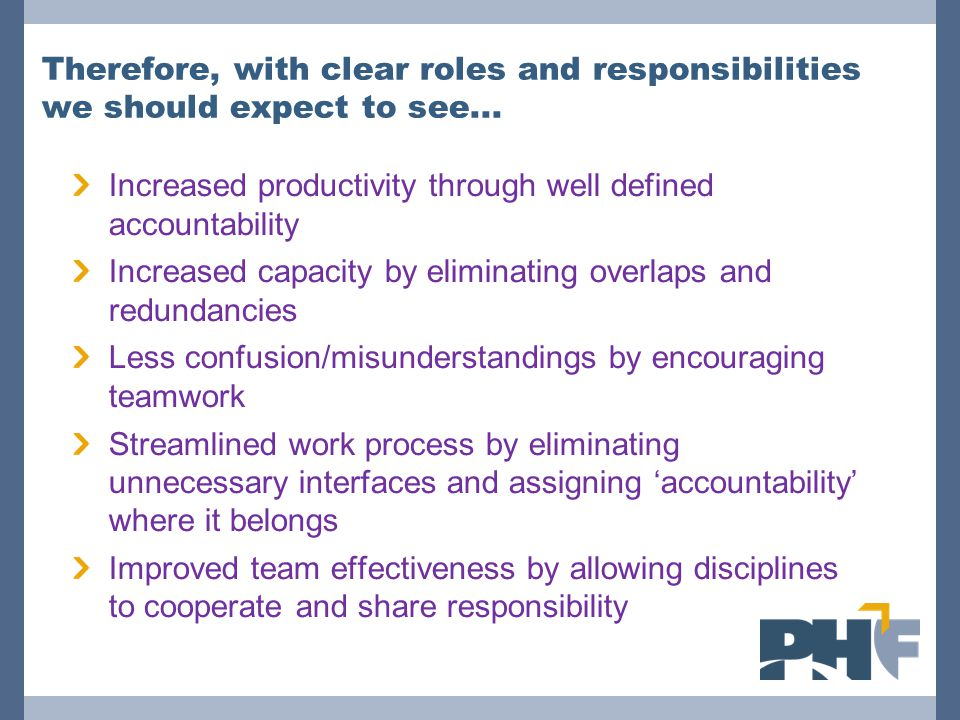 Increased productivity through well defined accountability