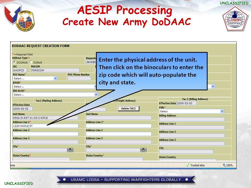 Create New Army DoDAAC
