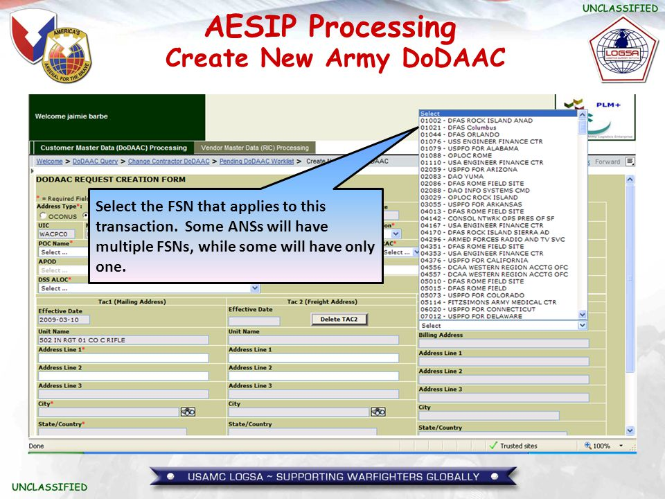 Create New Army DoDAAC Select the FSN that applies to this transaction.